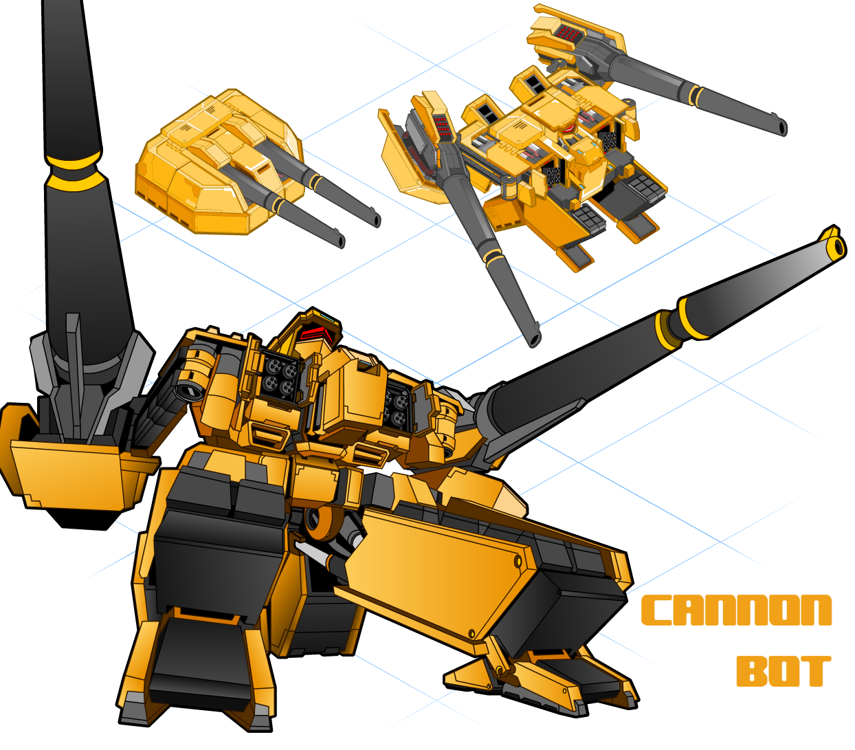 a perspective view of the cannon bot.